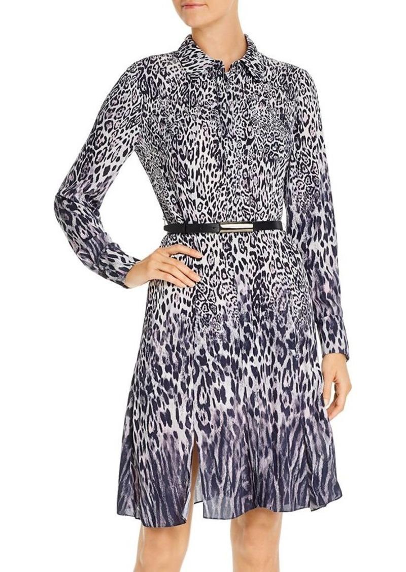 Elie Tahari Aisha Ombr� Leopard Belted Dress