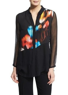 Elie Tahari Aisley Abstract-Print Blouse