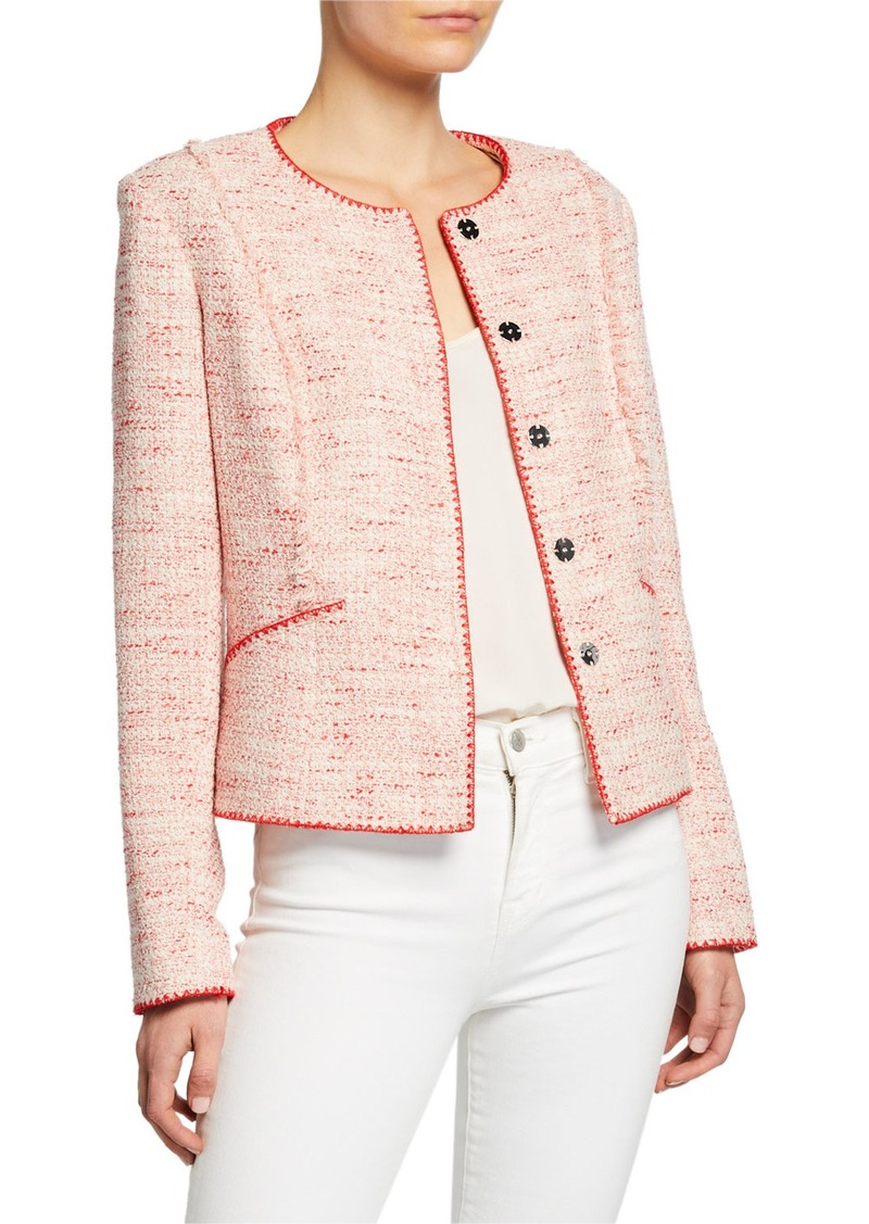 Elie Tahari Alianna Button-Front Tweed Jacket