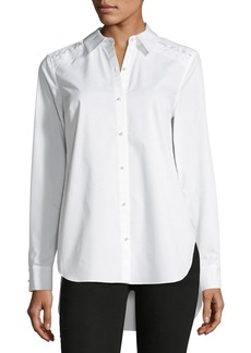 Elie Tahari Alina Long-Sleeve Button-Front Blouse w/ Pearlescent Trim