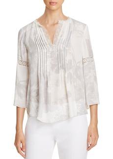 Elie Tahari Alita Lace Trim Floral Silk Blouse
