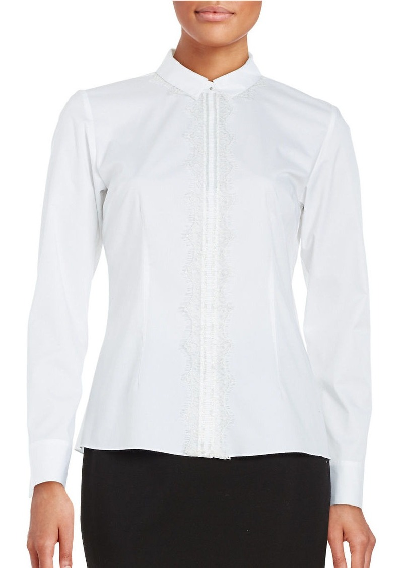 ELIE TAHARI Alondra Lace-Accented Snap-Front Shirt