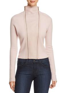 Elie Tahari Amanka Leather-Inset Merino Wool Sweater