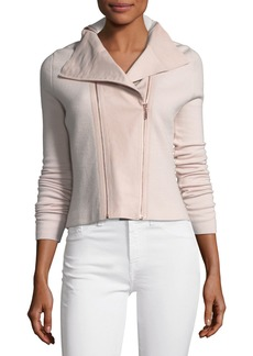 Elie Tahari Amanka Zip-Front Merino Sweater