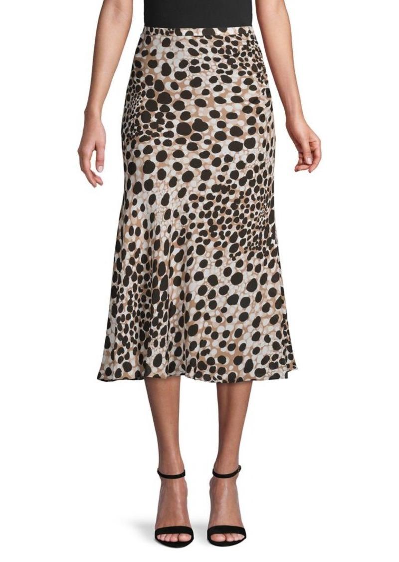 Elie Tahari Amazonian Dot Silk Midi Skirt