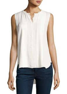 Elie Tahari Amerie Sleeveless Lace-Trim Silk Blouse
