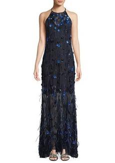 Elie Tahari Amia Sleeveless Embellished Feather Dress