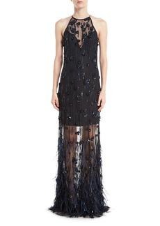 Elie Tahari Amia Sleeveless Illusion Feather Evening Gown