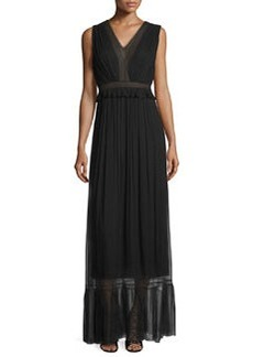 Elie Tahari Amilia Sleeveless Pleated SIlk Maxi Dress