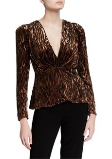 Elie Tahari Amit V-Neck Long-Sleeve Burnout Blouse