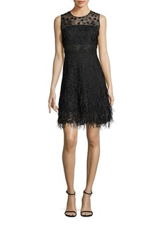 Elie Tahari Anabelle Feather Hem Lace Dress