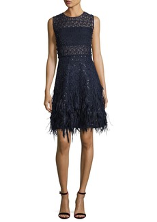 Elie Tahari Anabelle Sleeveless Lace Cocktail Dress w/ Feather Trim