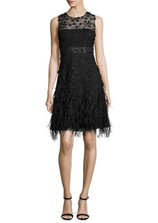 Elie Tahari Anabelle Sleeveless Lace Feathered A-Line Dress