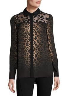 Elie Tahari Anderson Leopard-Print Silk Blouse