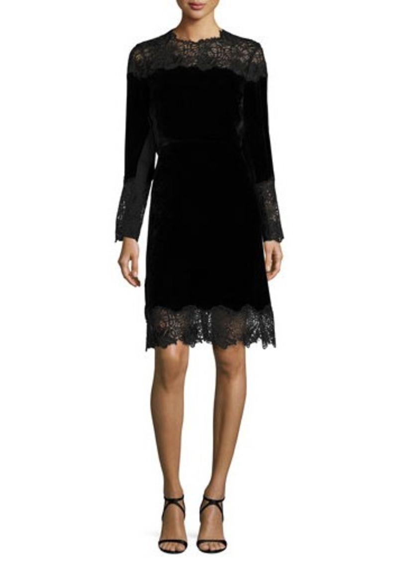 Elie Tahari Anderson Long-Sleeve Velvet & Lace A-Line Dress