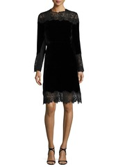 Elie Tahari Anderson Long-Sleeve Velvet & Lace A-Line Dress