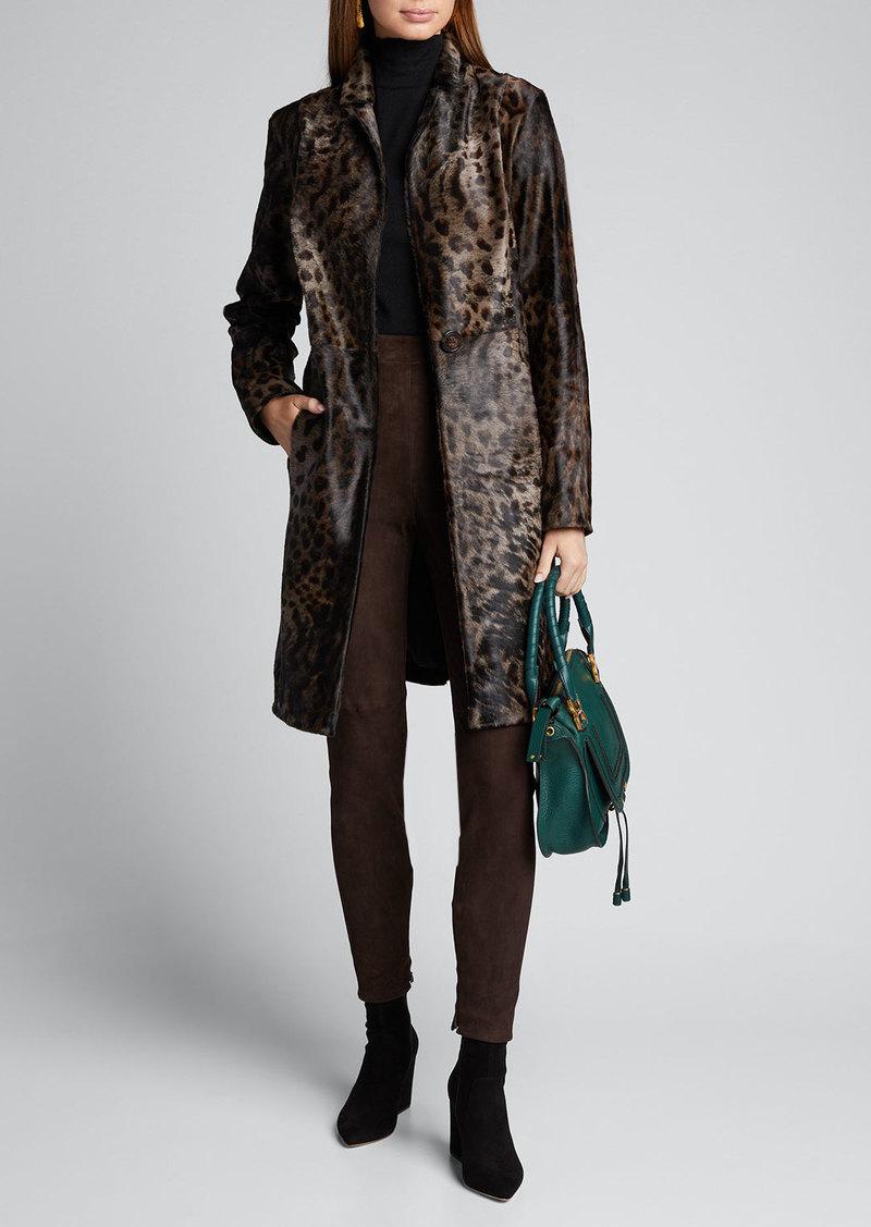 Elie Tahari Angelina One-Button Animal-Print Calf Hair Coat