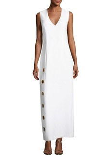 Elie Tahari Ann Sleeveless Column Dress w/ Oversized Grommets