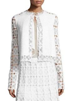 Elie Tahari Annabella Textured Lace-Panel Jacket