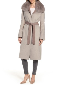 Elie Tahari Annabelle Genuine Fox Fur Trim Double Face Long Wrap Coat