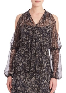 Elie Tahari Annette Silk Cold Shoulder Blouse
