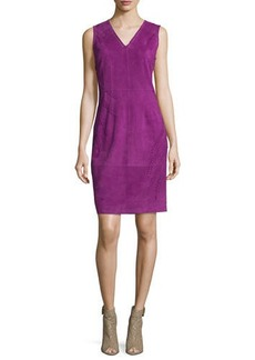 Elie Tahari Annmarie Sleeveless Suede Sheath Dress