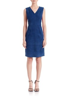 Elie Tahari Annmarie Suede Stitched Dress