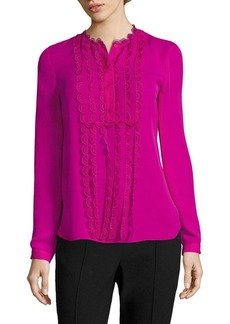Elie Tahari Antonella Scalloped Silk Blouse