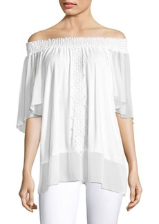 Elie Tahari Antonia Lace-Trim Off-The-Shoulder Top