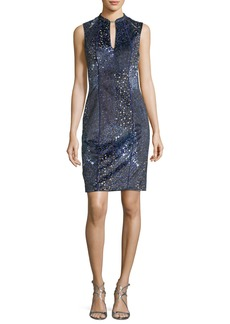Elie Tahari Arabella Sleeveless Piped Sheath Dress