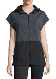 Elie Tahari Aria Hooded Terry/Tech Combo Vest