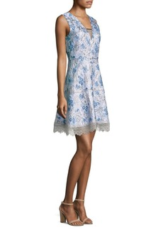 Elie Tahari Arianna Embroidered A-Line Dress