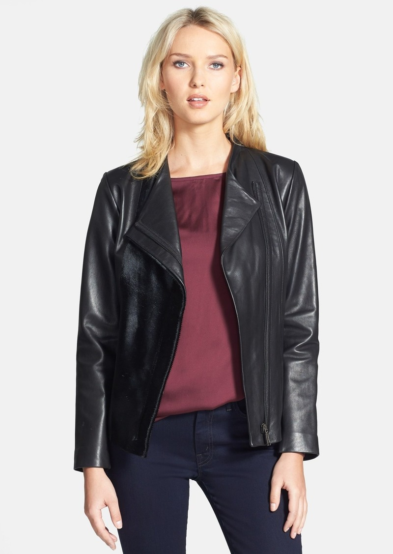Elie Tahari 'Ariel' Calf Hair Panel Leather Jacket