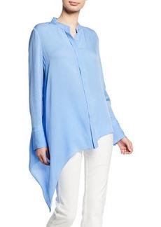 Elie Tahari Asifa Button-Down Long-Sleeve Asymmetric Silk Blouse