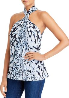 Elie Tahari Aspen Printed Twist Neck Top