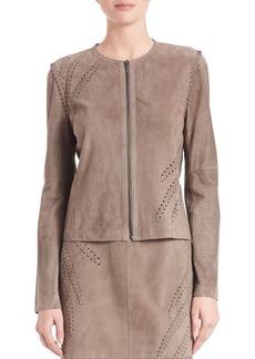 Elie Tahari Aspen Suede Zip Front Jacket