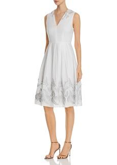 Elie Tahari Astrid Fit-and-Flare Appliqu� Dress