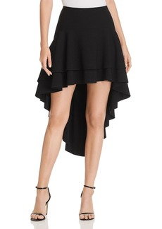 Elie Tahari Aubree Tiered High/Low Flutter Skirt