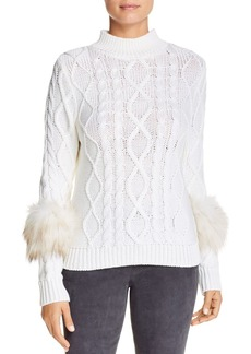 Elie Tahari Audrey Fur-Trim Wool Sweater