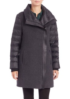 Elie Tahari Audrey Leather-Trimmed Puffer