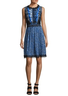 Elie Tahari Audriana Sleeveless Lace-Trim Printed Dress