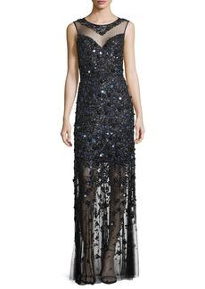 Elie Tahari Augenie Sleeveless Illusion Floral Appliqué Gown