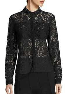 Elie Tahari Avon All Over Lace Top