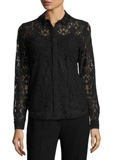 Elie Tahari Avon Embellished Lace Blouse