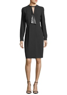 Elie Tahari Avrielle Long-Sleeve Faux-Wrap Crepe Dress