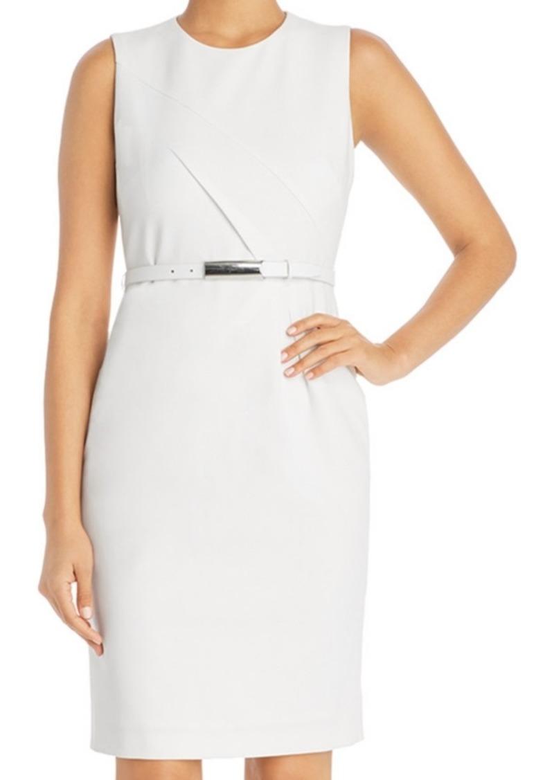 Elie Tahari Azra Belted Diagonal-Seamed Dress
