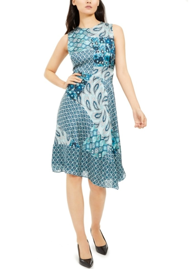 Elie Tahari Azure Mixed-Print Dress
