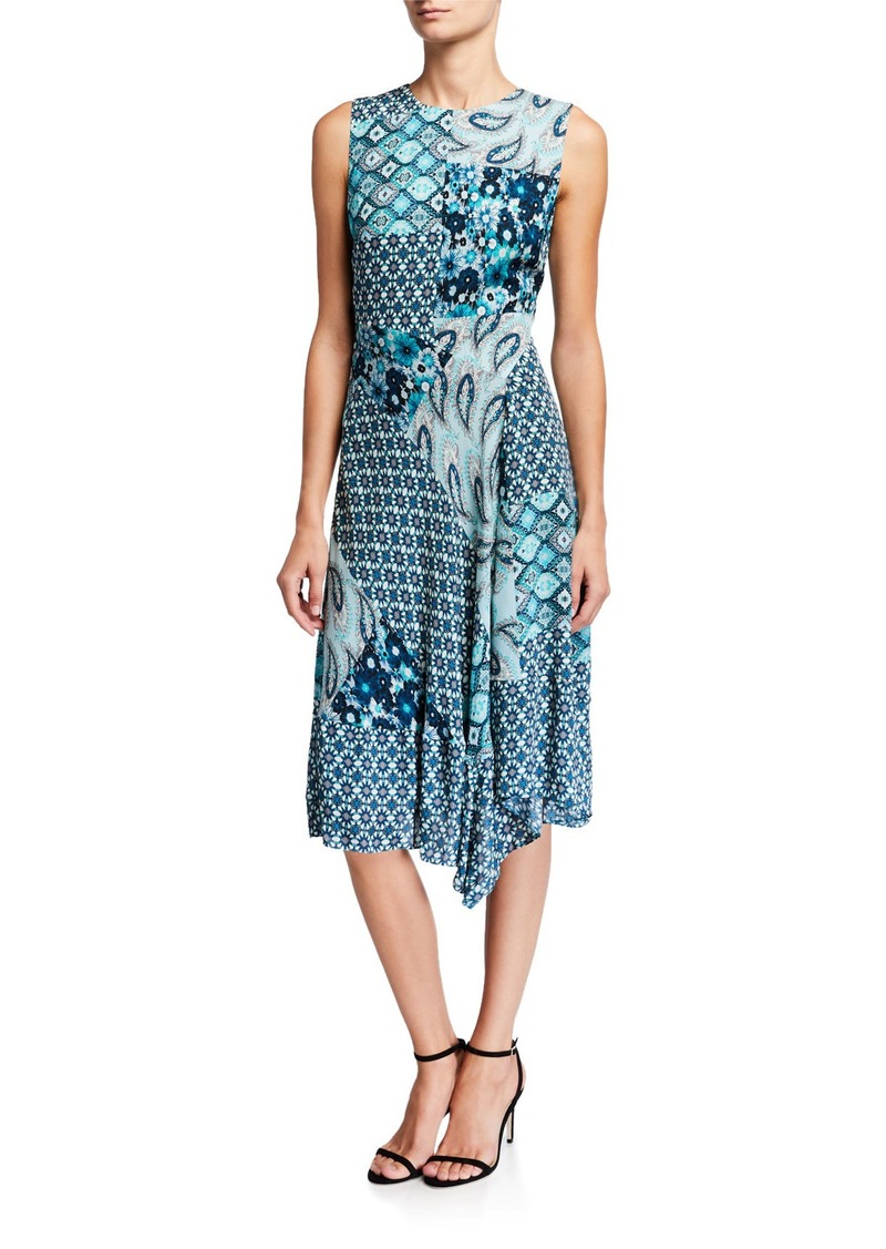 Elie Tahari Azure Mixed-Print Sleeveless Silk Dress