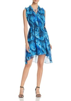 Elie Tahari Balere Feather-Print Silk Dress