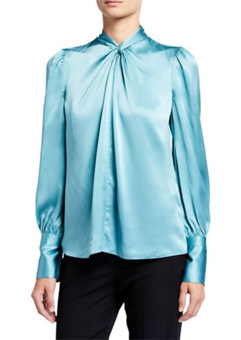 Elie Tahari Bali Long-Sleeve Twist-Neck Silk Shirt